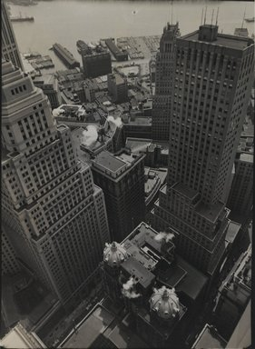 Berenice Abbott (American, 1898-1991). <em>Water Front: From Roof of Irving Trust Co. Building</em>, May 4, 1938. Gelatin silver photograph, 10 x 8 in. (25.4 x 20.3cm). Brooklyn Museum, Brooklyn Museum Collection, X858.19 (Photo: Brooklyn Museum, X858.19_PS2.jpg)