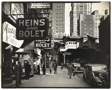 Berenice Abbott (American, 1898-1991). <em>Radio Row (Cortlandt Street, Manhattan)</em>, April 8, 1936. Gelatin silver photograph, sheet: 7 7/8 x 9 7/8 in. (20 x 25.1 cm). Brooklyn Museum, Brooklyn Museum Collection, X858.21 (Photo: , X858.21_PS9.jpg)