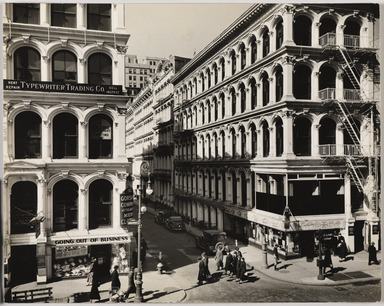 Berenice Abbott (American, 1898-1991). <em>Broadway and Thomas Street, Manhattan</em>, March 6, 1936. Gelatin silver photograph, 7 5/8 x 9 9/16 in. (19.4 x 24.3 cm). Brooklyn Museum, Brooklyn Museum Collection, X858.23 (Photo: , X858.23_PS9.jpg)