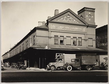 Berenice Abbott (American, 1898-1991). <em>West Washington Market, West St. & Loew Ave. C 13</em>, August 18, 1936. Gelatin silver photograph, sheet: 7 1/8 x 9 7/16 in. (18.1 x 24 cm). Brooklyn Museum, Brooklyn Museum Collection, X858.59 (Photo: , X858.59_PS9.jpg)