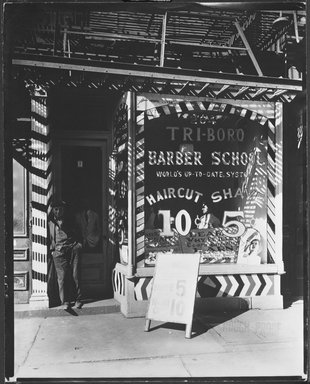 Berenice Abbott (American, 1898-1991). <em>Tri-Boro Barber School</em>, October 24, 1935. Gelatin silver photograph, sheet: 9 7/8 x 7 7/8 in. (25.1 x 20 cm). Brooklyn Museum, Brooklyn Museum Collection, X858.5 (Photo: Brooklyn Museum, X858.5_bw.jpg)