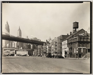 Berenice Abbott (American, 1898-1991). <em>South Street and James Slip, Manhattan</em>, April 1, 1937. Gelatin silver photograph, 8 x 10 in. (20.3 x 25.4 cm). Brooklyn Museum, Brooklyn Museum Collection, X858.61 (Photo: , X858.61_PS9.jpg)