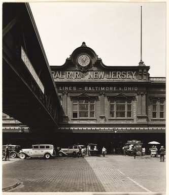 Berenice Abbott (American, 1898-1991). <em>Ferry Station Baltimore & Ohio R.R., West St.</em>, August 12, 1936. Gelatin silver photograph, Sheet: 8 5/8 x 7 1/2 in. (21.9 x 19.1 cm). Brooklyn Museum, Brooklyn Museum Collection, X858.68 (Photo: , X858.68_PS9.jpg)