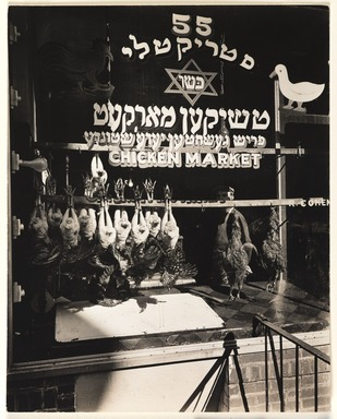 Berenice Abbott (American, 1898-1991). <em>Chicken Market, 55 Hester Street, Manhattan</em>, February 11, 1937. Gelatin silver photograph, 9 9/16 x 7 5/8 in. (24.3 x 19.4 cm). Brooklyn Museum, Brooklyn Museum Collection, X858.6 (Photo: , X858.6_PS9.jpg)