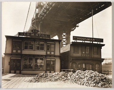 Berenice Abbott (American, 1898-1991). <em>Oyster Houses, South St. & Pike Slip</em>, April 1, 1937. Gelatin silver photograph, 7 1/2 x 9 5/8 in. (19.1 x 24.4 cm). Brooklyn Museum, Brooklyn Museum Collection, X858.81 (Photo: , X858.81_PS9.jpg)