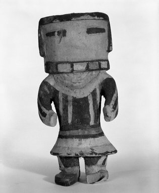 Hopi Pueblo. <em>Kachina Doll (Ang-ak-china?)</em>, 1868-1900. Wood, pigment, 6 5/16 x 2 15/16 in. (16 x 7.5 cm). Brooklyn Museum, Brooklyn Museum Collection, X862.2. Creative Commons-BY (Photo: Brooklyn Museum, X862.2_bw.jpg)