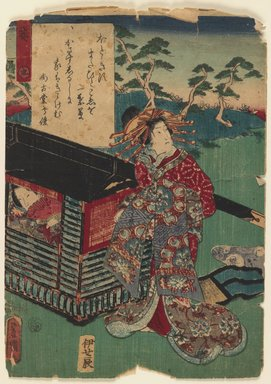 Utagawa Kunisada (Toyokuni III) (Japanese, 1786-1865). <em>Ch. 9, Aoi, from the series The Color Print Contest of a Modern Genji</em>, 1852, 2nd month. Color woodblock print on paper, 9 3/4 x 7 in. (24.8 x 17.8 cm). Brooklyn Museum, Brooklyn Museum Collection, X864.2 (Photo: Brooklyn Museum, X864.2_IMLS_PS3.jpg)