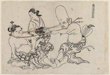 Okumura Masanobu (Japanese, 1686-1764). <em>Fukurokuju Uses His Head, from an untitled series of the Seven Gods of Good Fortune</em>, 18th century. Woodblock print with some hand-applied color on paper, 10 1/2 x 15 1/4 in. (26.7 x 38.7 cm). Brooklyn Museum, Brooklyn Museum Collection, X879 (Photo: Brooklyn Museum, X879_IMLS_PS3.jpg)