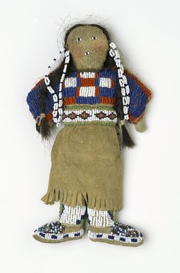 Plains. <em>Doll</em>, 20th century. Cloth, buckskin, bead, 8 1/2 x 5 in. (21.6 x 12.7 cm). Brooklyn Museum, Brooklyn Museum Collection, X885. Creative Commons-BY (Photo: Brooklyn Museum, X885_view1_PS2.jpg)