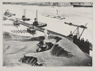 Louis Lozowick (American, born Russia, 1892-1973). <em>River Traffic</em>, 1938. Lithograph in black and white on white wove paper, Sheet: 10 7/8 x 16 1/16 in. (27.6 x 40.8 cm). Brooklyn Museum, Brooklyn Museum Collection, X890.2. © artist or artist's estate (Photo: Brooklyn Museum, X890.2_PS9.jpg)