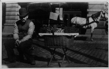 George Bradford Brainerd (American, 1845-1887). <em>Candyman, Broadway, Manhattan</em>, ca. 1880. Gelatin silver photograph, Image: 7 3/8 x 12 in. (18.8 x 30.5 cm). Brooklyn Museum, Brooklyn Museum Collection, X892.5 (Photo: Brooklyn Museum, X892.5_bw.jpg)