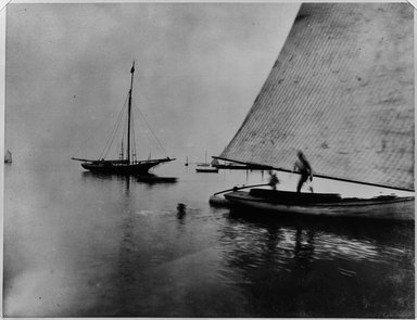 Breading G. Way (American, 1860-1940). <em>Sailboats, Coney Island, 1880's</em>. Gelatin silver photograph Brooklyn Museum, Brooklyn Museum Collection, X894.115 (Photo: Brooklyn Museum, X894.115_bw.jpg)