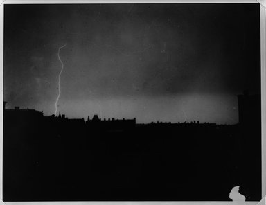 Breading G. Way (American, 1860-1940). <em>Lightning Over Brooklyn, 1880's</em>. Gelatin silver photograph Brooklyn Museum, Brooklyn Museum Collection, X894.116 (Photo: Brooklyn Museum, X894.116_bw.jpg)