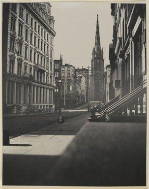 George Bradford Brainerd (American, 1845-1887). <em>Wall Street, Manhattan</em>, 1870-1887, printed 1940. Gelatin silver photograph, sheet: 14 x 11 in. (35.6 x 27.9 cm). Brooklyn Museum, Brooklyn Museum Collection, X894.147 (Photo: Brooklyn Museum, X894.147_PS2.jpg)