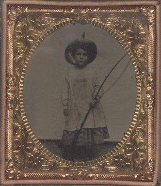 Unknown. <em>Child with Fishing Pole</em>. Tintype Brooklyn Museum, Brooklyn Museum Collection, X894.5 (Photo: Brooklyn Museum, X894.5.jpg)