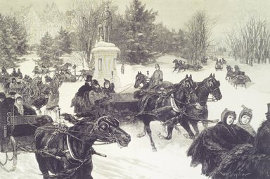 W.P. Snyder. <em>Sleighing in Central Park</em>, 1886. Engraving, sheet: 16 1/8 x 22 in. (41 x 55.9 cm). Brooklyn Museum, Brooklyn Museum Collection, X895 (Photo: Brooklyn Museum, X895.jpg)