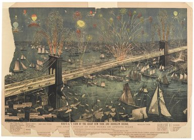 American. <em>Bird's-Eye View of the Great New York and Brooklyn Bridge and Grand Display of Fire Works on Opening Night</em>, 1883. Lithograph on paper, sheet: 18 1/8 x 25 1/2 in. (46 x 64.8 cm). Brooklyn Museum, Brooklyn Museum Collection, X897 (Photo: Brooklyn Museum, X897_PS2.jpg)