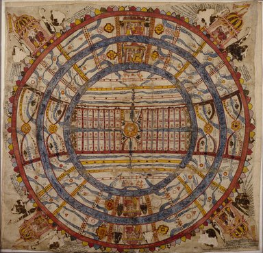 Indian. <em>Cosmic Diagram</em>, 18th century. Opaque watercolor on cotton, sheet: 35 1/2 x 36 in.  (90.2 x 91.4 cm). Brooklyn Museum, Brooklyn Museum Collection, X899.1 (Photo: Brooklyn Museum, X899.1_SL3.jpg)