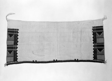 Pueblo. <em>Embroidered Dance Kilt</em>, 1868-1903. Cotton, yarn, twine, 47 x 22 in.  (119.4 x 55.9 cm). Brooklyn Museum, Brooklyn Museum Collection, X910. Creative Commons-BY (Photo: Brooklyn Museum, X910_bw.jpg)