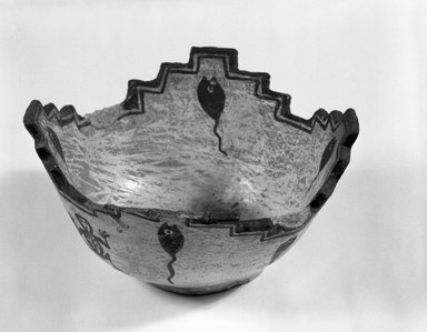 She-we-na (Zuni Pueblo). <em>Prayer Meal Bowl</em>, late 19th century. Clay, pigment, height: 3 9/16 (9.0 cm). Brooklyn Museum, Brooklyn Museum Collection, X922.4. Creative Commons-BY (Photo: Brooklyn Museum, X922.4_bw.jpg)