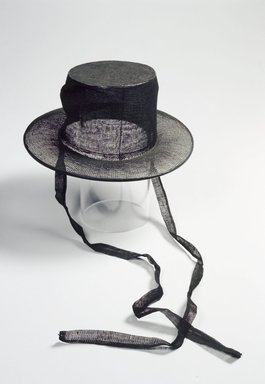 <em>Official's Top Hat (Gat)</em>, 19th century. Lacquered horsehair mesh, silk, Brim: 2 3/16 x 10 1/4 in. (5.5 x 26 cm). Brooklyn Museum, Brooklyn Museum Collection, X923.2. Creative Commons-BY (Photo: Brooklyn Museum, X923.2.jpg)