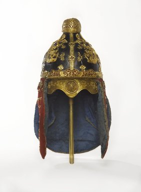 <em>Suit of Armor (Helmet and Coat)</em>, 19th century. Leather, lacquer, gilt-copper, wool, silk brocade, hemp-cloth, Helmet: 17 1/2 x 8 in. (44.5 x 20.3 cm), bowl height: 10 in. (25.4 cm). Brooklyn Museum, Brooklyn Museum Collection, X957.3a-b. Creative Commons-BY (Photo: Brooklyn Museum, X957.3a_front_PS9.jpg)