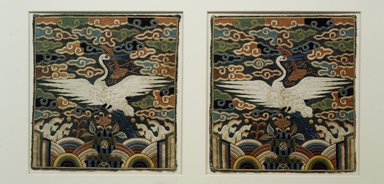 <em>Rank Square (Hyungbae) Depicting a Single Crane, One of Pair</em>, 19th century. Silk panel, 9 1/16 x 8 1/2 in. (23 x 21.6 cm). Brooklyn Museum, Brooklyn Museum Collection, X960.2. Creative Commons-BY (Photo: , X960.1_X960.2.jpg)