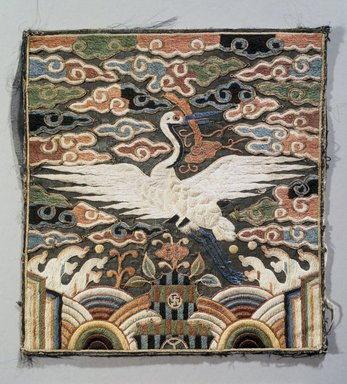 <em>Rank Square (Hyungbae) Depicting a Single Crane, One of Pair</em>, 19th century. Silk panel, 9 1/16 x 8 1/2 in. (23 x 21.6 cm). Brooklyn Museum, Brooklyn Museum Collection, X960.1. Creative Commons-BY (Photo: Brooklyn Museum, X960.1_transp4591.jpg)