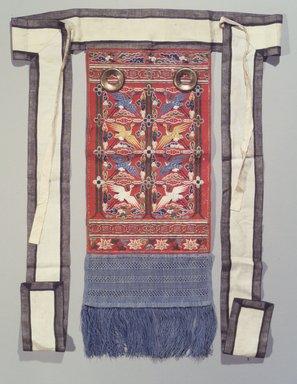 <em>Rear Embroidered Panel (Husu)</em>, 19th century. Silk, gilt-copper, wool, 29 1/2 x 10 1/2 x 32 1/16 in. (74.9 x 26.7 x 81.5 cm). Brooklyn Museum, Brooklyn Museum Collection, X962. Creative Commons-BY (Photo: Brooklyn Museum, X962_transp4593.jpg)