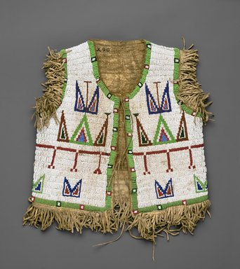 Sioux. <em>Child's Beaded Waistcoat</em>, late 19th or early 20th century. Hide, beads, 13 1/2 x 12 1/4 in. (34.3 x 31.1 cm). Brooklyn Museum, Brooklyn Museum Collection, X98. Creative Commons-BY (Photo: Brooklyn Museum, X98_front_PS2.jpg)