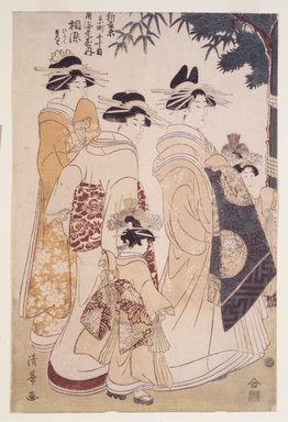 Torii Kiyomine (Japanese, 1787-1869). <em>New Year's Parade in the Yoshiwara</em>, 1807-1808. Woodblock print, Each: 14 3/4 x 9 7/8 in. (37.5 x 25.1 cm). Brooklyn Museum, Brooklyn Museum Collection, X996a-c (Photo: Brooklyn Museum, X996a_transp4852.jpg)