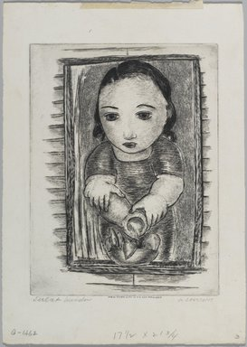 George Constant (American, 1892-1978). <em>Girl at Window</em>. Drypoint, Sheet: 11 7/16 x 16 1/8 in. (29.1 x 40.9 cm). Brooklyn Museum, Brooklyn Museum Collection, X1042.111 (Photo: Brooklyn Museum, x1042.111_PS1.jpg)
