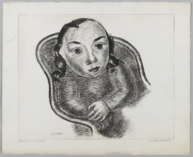 George Constant (American, 1892-1978). <em>Girl Resting</em>. Etching, drypoint on paper, Sheet: 14 1/2 x 17 13/16 in. (36.8 x 45.3 cm). Brooklyn Museum, Brooklyn Museum Collection, X1042.114 (Photo: Brooklyn Museum, x1042.114_PS1.jpg)