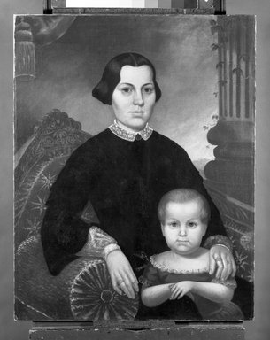 Probably Charles Winter (American, born ca. 1825). <em>Portrait of a Mother and Child</em>, 1853. Oil on canvas, 33 13/16 x 26 13/16 in. (85.9 x 68.1 cm). Brooklyn Museum, Brooklyn Museum Collection, X504.2 (Photo: Brooklyn Museum, x504.2_bw.jpg)