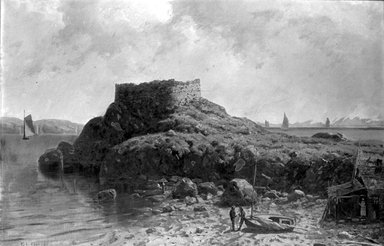 George L. Clough (American, 1824-1901). <em>Fort Dumpling, Rhode Island</em>, ca. 1870. Oil on canvas, 23 15/16 x 36 in. (60.8 x 91.5 cm). Brooklyn Museum, Brooklyn Museum Collection, X521 (Photo: Brooklyn Museum, x521_bw.jpg)