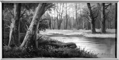 American. <em>Forest Landscape</em>, ca. late 19th or early 20th century. Oil on canvas, canvas:  7 x 14 in.  (17.8 x 35.6 cm);. Brooklyn Museum, Brooklyn Museum Collection, X530 (Photo: Brooklyn Museum, x530_bw.jpg)
