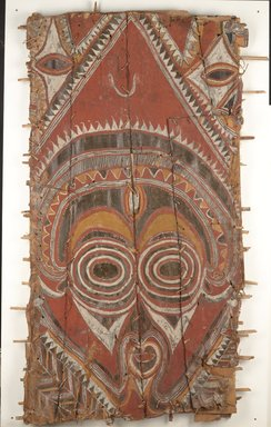 Abelam. <em>Korumbo Gable Painting</em>, 20th century. Bark, pigment, 73 x 44 x 3 in. (185.4 x 111.8 x 7.6 cm). Brooklyn Museum, Brooklyn Museum Collection, X579. Creative Commons-BY (Photo: Brooklyn Museum, x579_PS9.jpg)