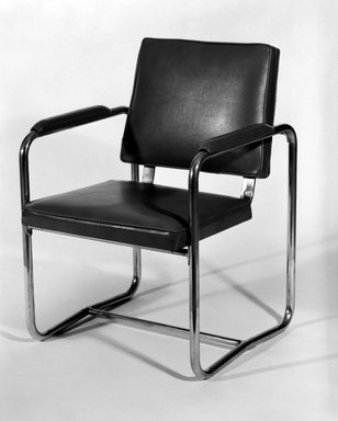 Howe & Lescaze (American). <em>Chair</em>, ca. 1933. Chrome-plated metal, vinyl, 31 3/4 x 22 1/2 x 21 1/4 in. (80.6 x 57.2 x 54 cm). Brooklyn Museum, Charles Edwin Wilbour Fund, X875. Creative Commons-BY (Photo: Brooklyn Museum, x875_bw.jpg)