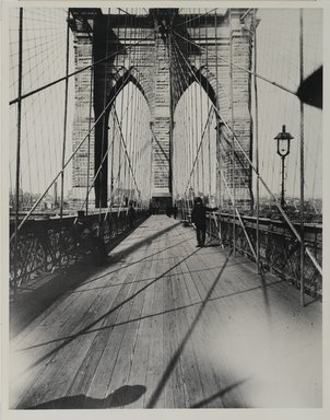 Breading G. Way (American, 1860-1940). <em>East River Bridge</em>, ca. 1888. Gelatin silver photograph, 13 7/8 x 10 7/8 in. (35.3 x 27.6 cm). Brooklyn Museum, Brooklyn Museum Collection, X892.16 (Photo: Brooklyn Museum, x892.16_PS1.jpg)