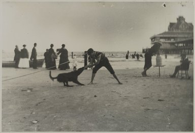 George Bradford Brainerd (American, 1845-1887). <em>Boy and Dog, Iron Pier, Coney Island, Brooklyn</em>, ca. 1880-1885; printed 1940s. Gelatin silver photograph, image: 9 x 13 1/2 in. (22.9 x 34.3 cm). Brooklyn Museum, Brooklyn Museum Collection, X894.150 (Photo: Brooklyn Museum, x894.150_PS2.jpg)