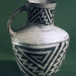 Pitcher with Black on White Geometric Designs