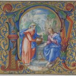 Two Manuscript Illuminations with Initials Mounted in One Frame: (N) Christ and the Woman of Samaria at the Well and  (L) The Return of the Prodigal Son