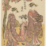 The Courtesan Ogino of Ogiya Tea House with Two Attendants