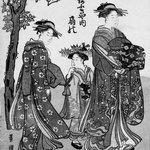 The Courtesan Ogino of Ogiya Tea House with Two Attendants