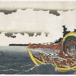 Fishing-boats hooking Bonito in the Chōshi Bay in the Shimōsa Province, from an untitled series of nine landscapes