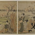 Cherry Trees on the Banks of the Sumida River, [two pages from] a Pentaptych