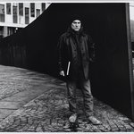 "Richard Serra beside His ""Tilted Arc"""
