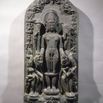 Stele with Vishnu, His Consorts, His Avatars, and Other Dieties