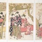 Courtesans Strolling Beneath Cherry Trees Before the Daikokuya Teahouse