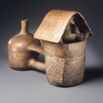 Double-Bodied Vessel with Figure within a House